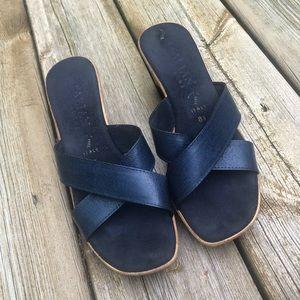 Italian Shoemakers Blue Wedge Sandals Size 8.5